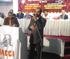 Delivering speech at Conference